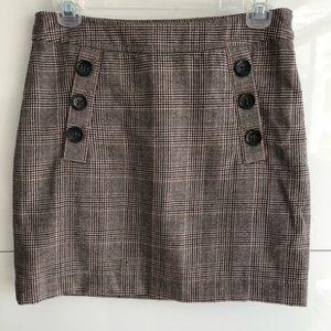 Banana Republic Plaid Wool Mini Skirt sz. 2 brown